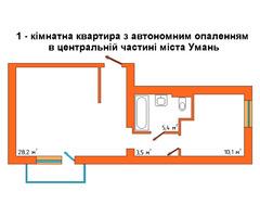 1-к. квартира (50м²) з авт. опал.